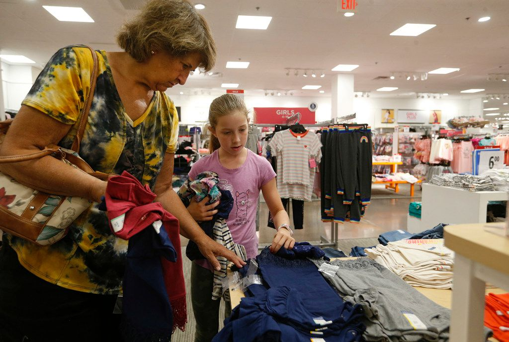 Remember the fun of back-to-school shopping? Joni McConnell of Frisco helps her granddaughter Brianna Foster, 9 of Lucas as they shopped for back to school clothes at J.C. Penney inside Stonebriar Mall in Frisco in July.