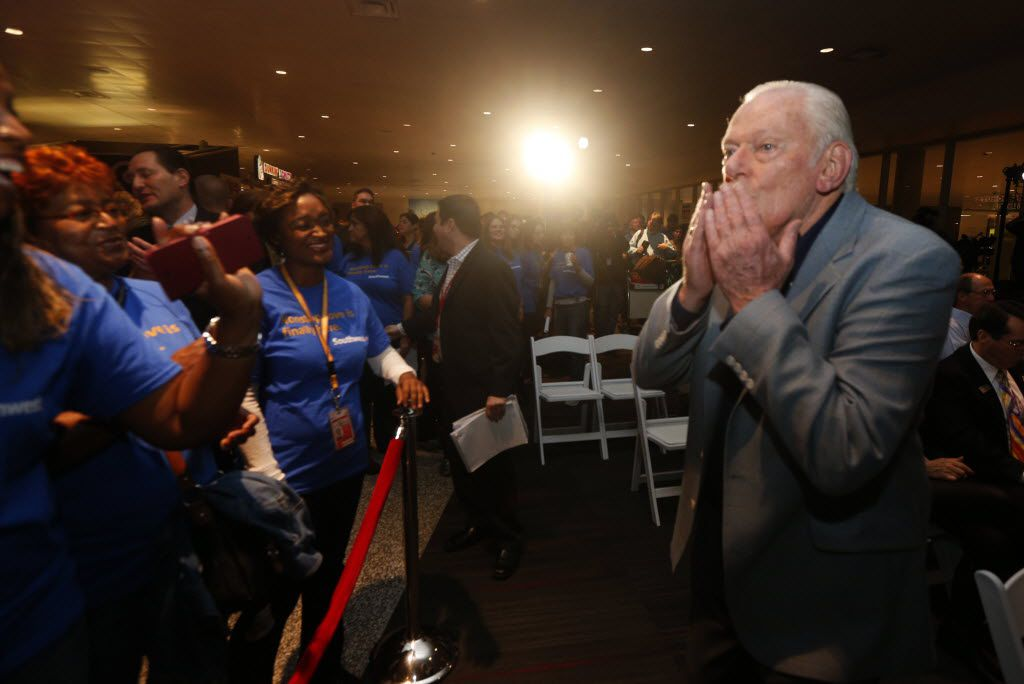 Former Southwest CEO Herb Kelleher blows kisses to employees prior to a press conference, as the Wright Amendment ends and Dallas Love Field is opened to non-stop flights,  at Love Field in Dallas on Oct. 13, 2014.