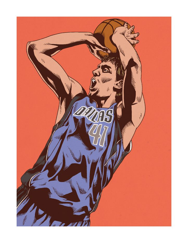 Torres drew this image of Dirk Nowitzki after fans requested him to depict the Mavericks star.