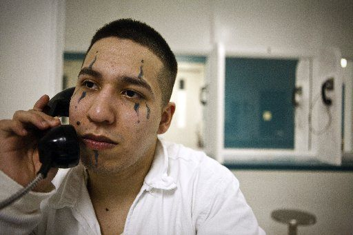 Rosalio Reta during an interview in 2009, in a Texas prison, where he paid a fellow inmate to tattoo his face.