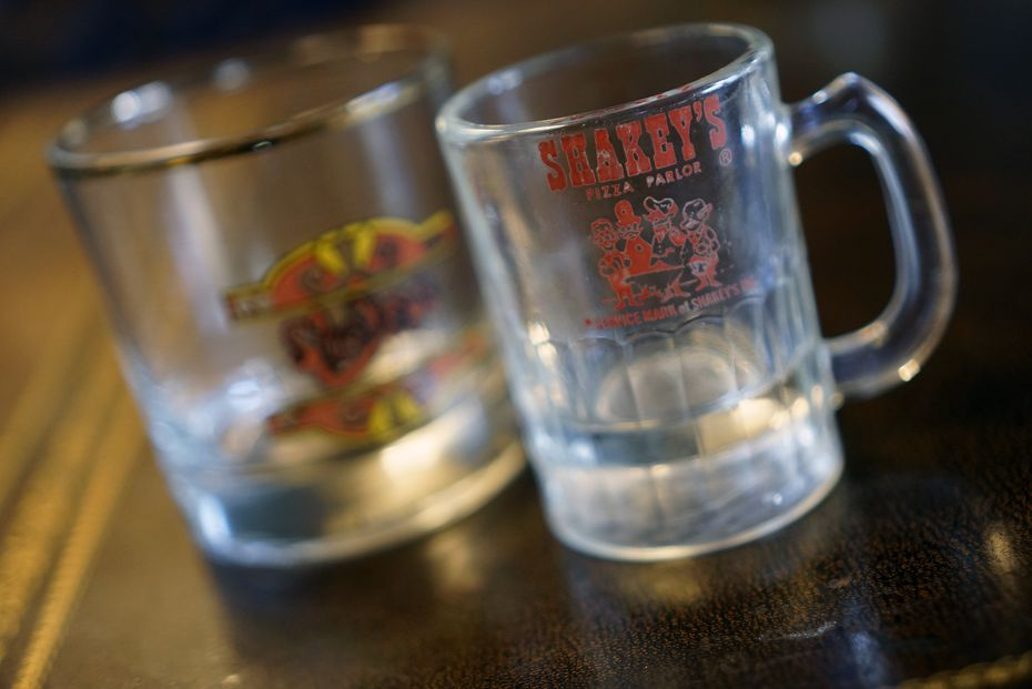 Shakey's Pizza Parlor had logos on their special glasses used to serve customers.