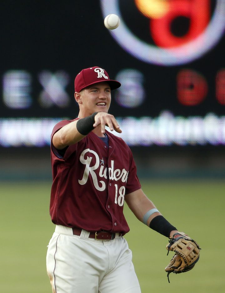 Frisco RoughRiders 3rd baseman Josh Jung (18) relays a throw from the outfield back to the mound after a San Antonio batter flied out during the top of the 3rd inning of play. The two teams played their minor league baseball game at Riders Field in Frisco on June 22, 2021 (Steve Hamm/ Special Contributor)