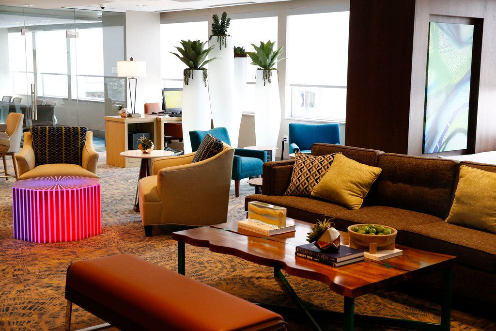 The lobby for the Residence Inn Hotel in Dallas on Oct. 17, 2017. (Nathan Hunsinger/The Dallas Morning News)