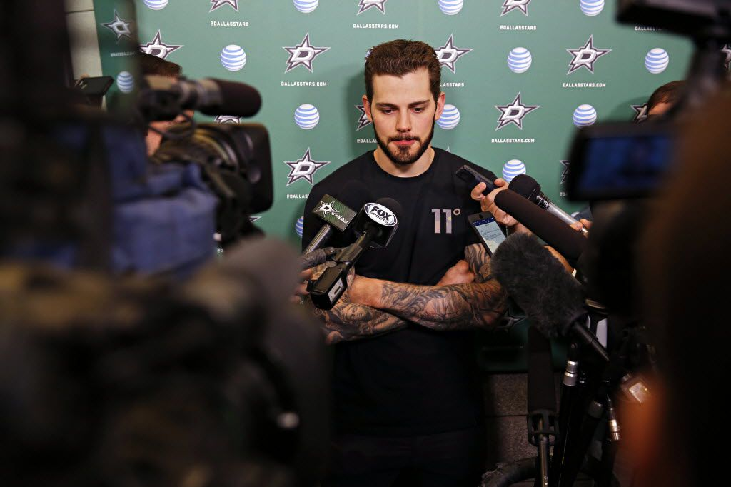 Dallas Stars center Tyler Seguin talks to media as the team cleaned out their lockers at Dr Pepper Arena Friday, May 13, 2016 in Frisco, Texas. The Stars were eliminated from the Stanley Cup playoff series Wednesday following a Game 7 loss to the St. Louis Blues. (G.J. McCarthy/The Dallas Morning News)