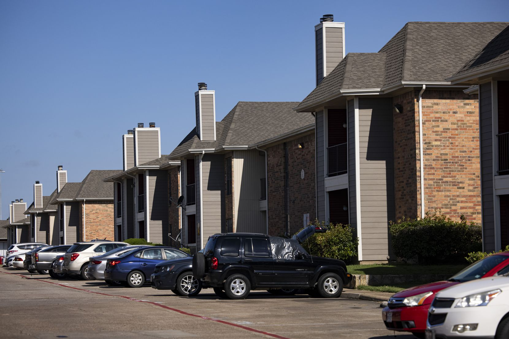 Apartment homes in the Redbird neighborhood. Landlords in that ZIP code have filed more than 450 eviction cases this year — nearly all for not paying rent,