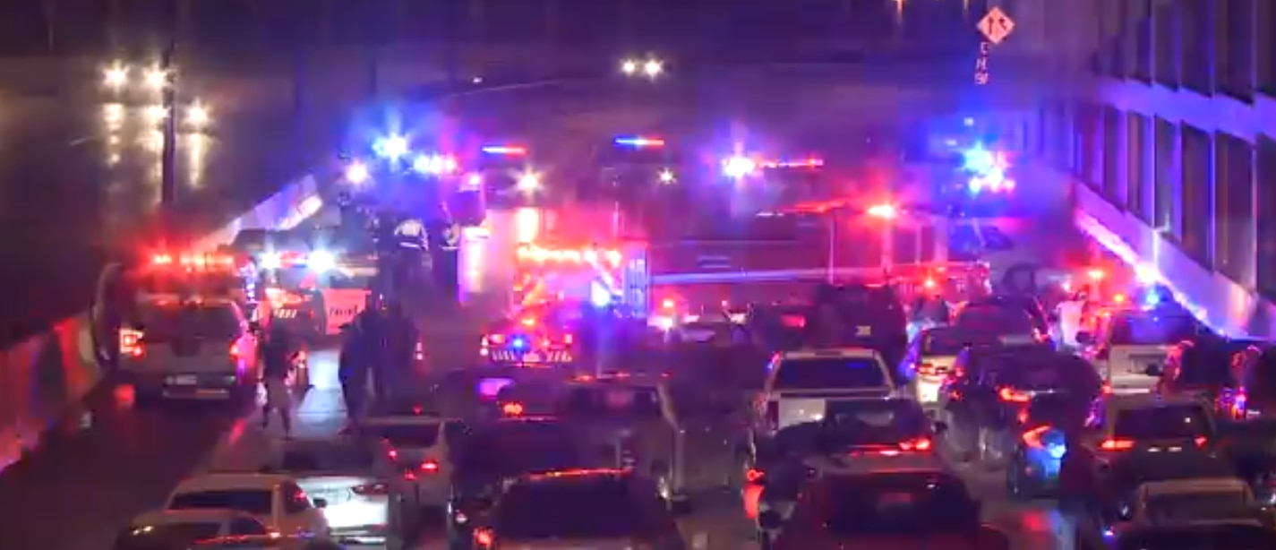 First responders shut down all southbound lanes of U.S. Highway 75 to clear the crash Sunday night.