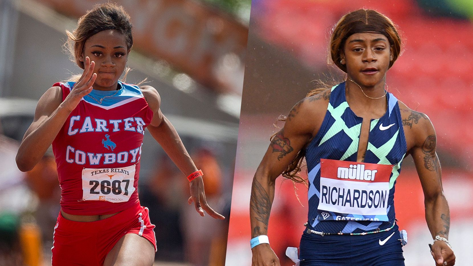 Sha'Carri Richardson with Carter HS in 2018 (left) and at the Diamond League athletics meet in 2021.