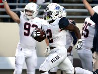 Allen running back Jaylen Jenkins (2) goes 75 yards for a touchdown against Denton Guyer during the first half in a District 5-6A high school football game played at the C.H. Collins Complex on Friday, October 15, 2021, in Denton.