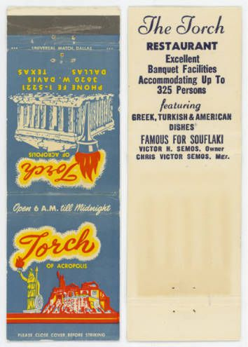 Original Torch of the Acropolis matchbook from Cook Collection, DeGolyer Library, SMU