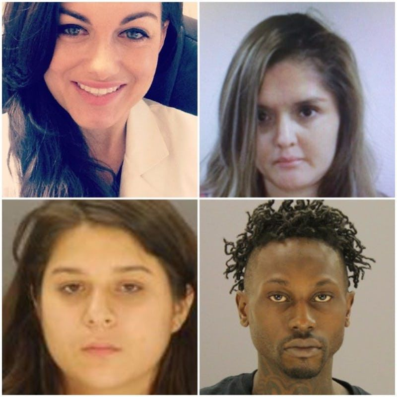 Clockwise from top left: Kendra Hatcher was killed in a plot authorities say was orchestrated by her boyfriend's jealous ex-girlfriend, Brenda Delgado, and carried out by gunman Kristopher Love and getaway driver Crystal Cortes. Love faces trial in October.