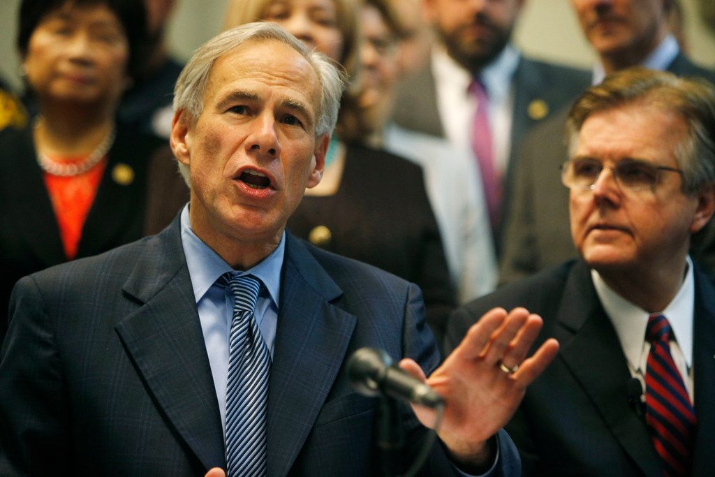 Texas Gov. Greg Abbott speaks to the media to announce the grant funding for rifle resistant vests for Texas police officers at Dallas Police Association Headquarters in Dallas on Tuesday, Jan. 9, 2018. The police officers ambushed in Dallas by a gunman during a 2016 racial equality march were wearing bulletproof vests, but they weren't strong enough to resist rifle fire.