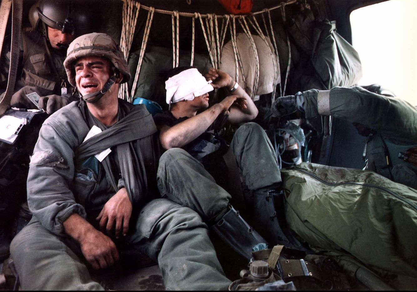 In one of the most indelible scenes from the 1991 Gulf War, an American soldier cries after learning that a fellow tank crewman was killed in a mortar explosion during Operation Desert Storm in Kuwait. Another Five years after the invasion of Kuwait by Iraq, U.S. forces are still protecting the Persian Gulf as an area of 'vital interest.'