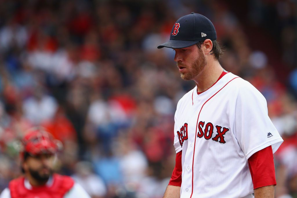 BOSTON, MA - OCTOBER 08:  Doug Fister #38 of the Boston Red Sox reacts in the first inning against the Houston Astros during game three of the American League Division Series at Fenway Park on October 8, 2017 in Boston, Massachusetts.  (Photo by Maddie Meyer/Getty Images)