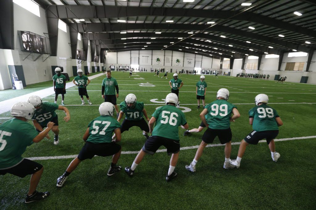 Indoor practice facilities at Southlake Carroll High School in Southlake, Texas on Aug. 10, 2016.  (Nathan Hunsinger/The Dallas Morning News)