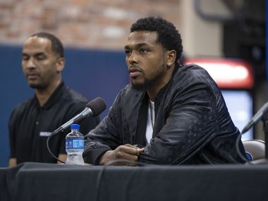 Dallas Mavericks forward Sterling Brown speaks during a press conference in Dallas, Friday, August 27, 2021.