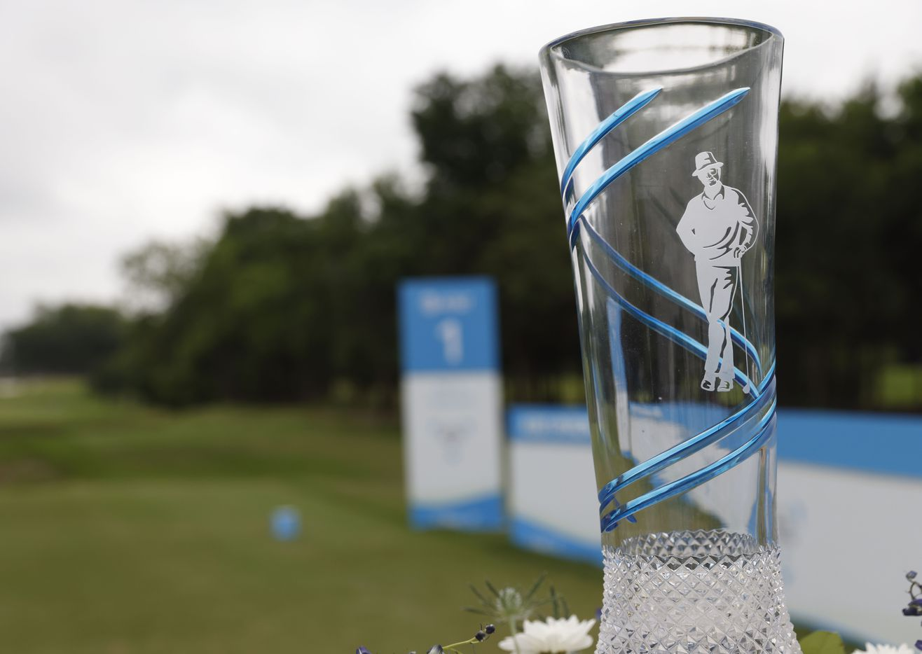 AT&T Byron Nelson tournament trophy sits at the tee box of the 1st hole during round 4 of the AT&T Byron Nelson  at TPC Craig Ranch on Saturday, May 16, 2021 in McKinney, Texas. (Vernon Bryant/The Dallas Morning News)