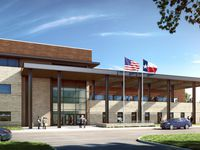 A rendering shows Panther Creek High School in northwest Frisco, which is scheduled to open in fall 2022.