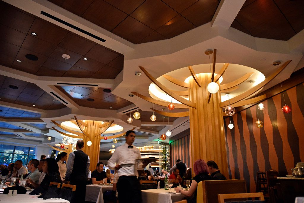 Wood-clad columns evoking trees can be seen inside the main dinning hall at the new Fogo de Ch‹o in Uptown, Friday, May 19, 2017 in Dallas. Ben Torres/Special Contributor