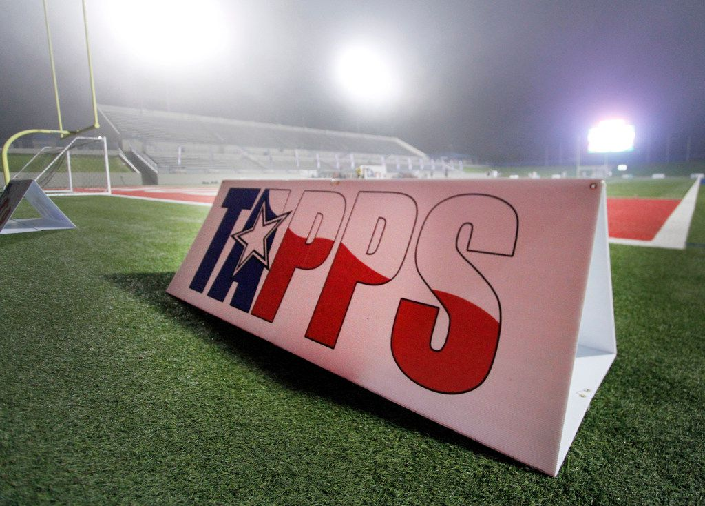 A TAPPS sign is on the field backlit from stadium lights in the fog. Ursuline defeated John Paul ll 2-0 to capture the state championship trophy. The two teams played their TAPPS Division 1 girls state soccer championship game at Waco ISD Stadium in Waco on February 23, 2018. (Steve Hamm/Special Contributor)