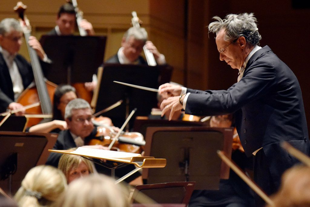 The Dallas Symphony Orchestra with conductor Fabio Luisi and pianist Lise de la Salle performs Beethoven Concerto No. 4 in G major for piano and orchestra, Op. 58, at the Morton H. Meyerson Symphony Center in Dallas, on March 8, 2018.