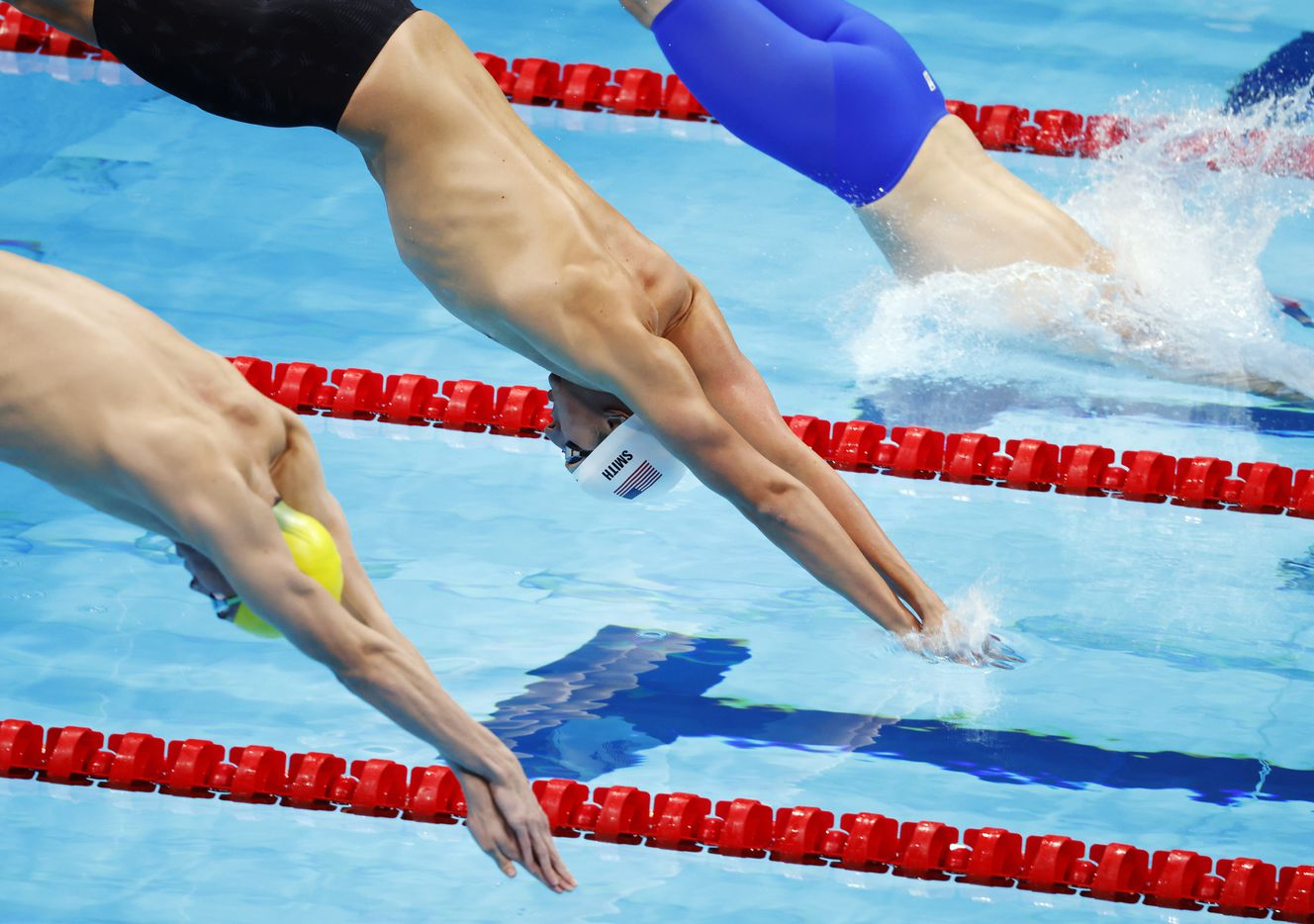 USA's Kieran Smith competes in the men's 200 meter freestyle at a swim qualifying event during the postponed 2020 Tokyo Olympics at Tokyo Aquatics Centre on Sunday, July 25, 2021, in Tokyo, Japan. Smith finished with a time of 1:46.20. (Vernon Bryant/The Dallas Morning News)