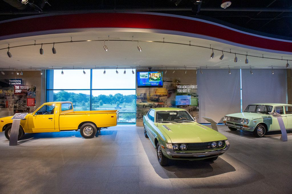 Vintage Toyota vehicles line the entrance to the Toyota Experience Center at the Toyota North American headquarters in Plano, Texas, on Wednesday, Aug. 7, 2019. The center is the motor company's first and only comprehensive museum space. (Lynda M. Gonzalez/The Dallas Morning News)