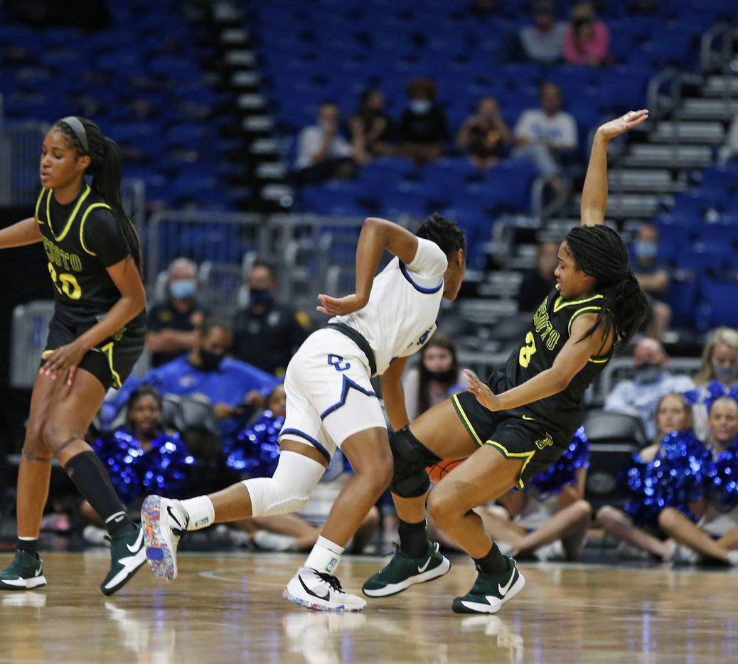 DeSoto Kayla Glover #3 tries to force a charge. DeSoto vs. Cypress Creek girls basketball Class 6A state championship game on Thursday, March 12, 2021 at the Alamodome.