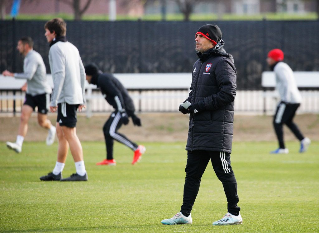 FC Dallas head coach Luchi Gonzalez watches players during the first practice of preseason training at Toyota Soccer Center in Frisco on Tuesday, January 21, 2020.