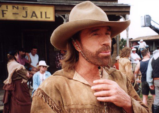 Chuck Norris on the set of the last show of Walker Texas Ranger.