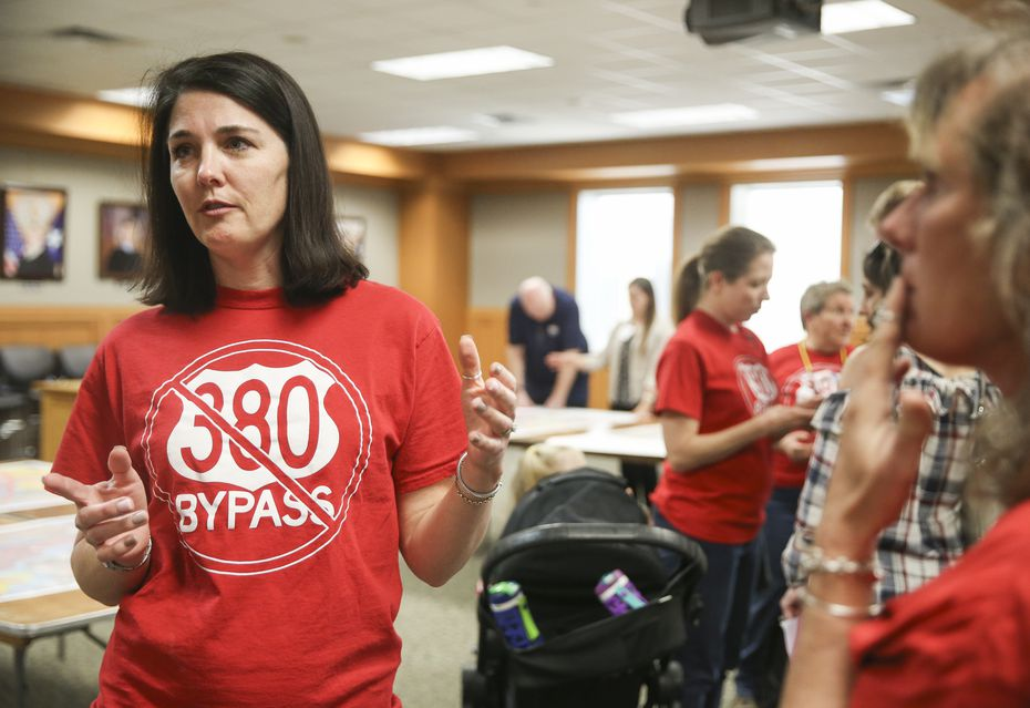 Tara Voigt, who opposes the U.S. 380 bypass, speaks during a Texas Department of Transportation open house to display new U.S. 380 alignment maps Thursday, March 21, 2019 at the Russell A. Steindam Courts Building in McKinney, Texas. (Ryan Michalesko/The Dallas Morning News)