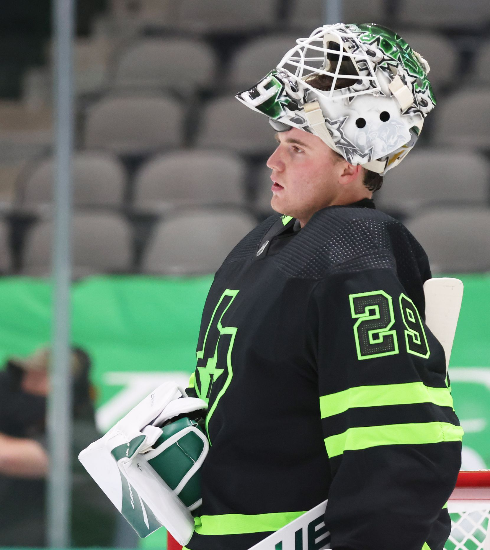 Dallas Stars goaltender Jake Oettinger (29) during a break in play against the Detroit Red Wings in the second period of play at American Airlines Center on Thursday, January 28, 2021in Dallas. (Vernon Bryant/The Dallas Morning News)