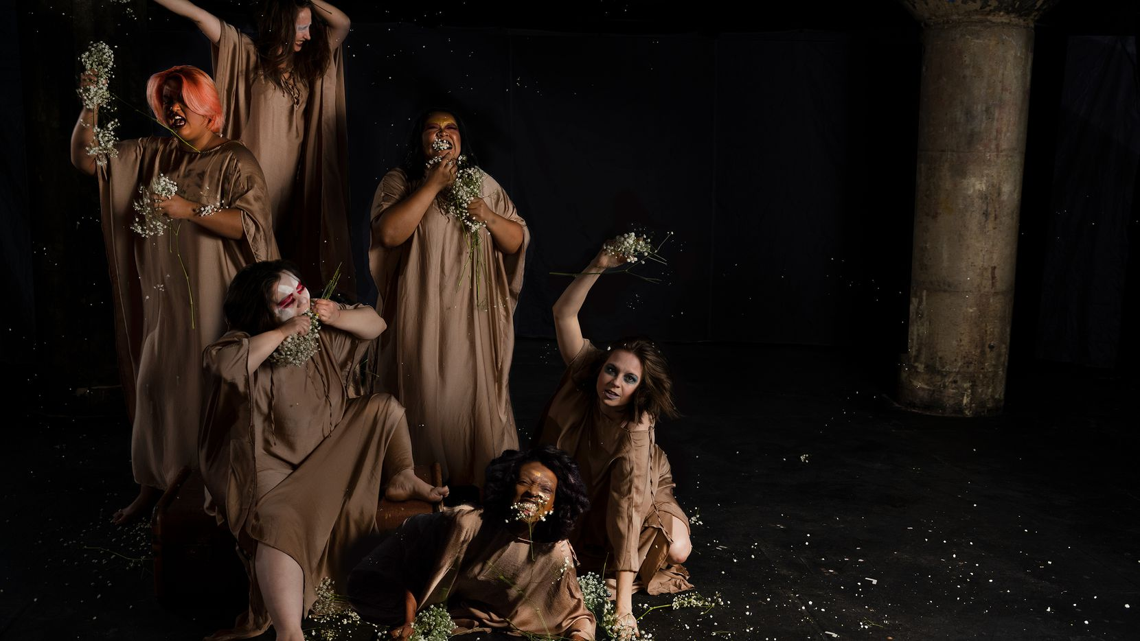 """Clockwise from top, Anastasia Munoz, Becki McDonald, Jenny Ledel, Bwalya Chisanga, Celeste Perez and Mindamora Rocha star in the premiere of the Danielle Georgiou Dance Group's """"Stronger Than Arms,"""" presented by Undermain Theatre to open its 2021-22 season."""