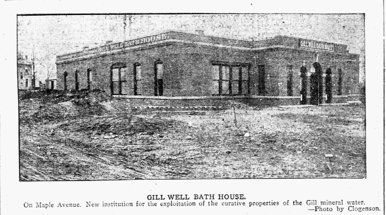 Photograph of the Gill Well Bath House off Maple Avenue. Staff photograph published in The Dallas Morning News on Jan. 13, 1907.
