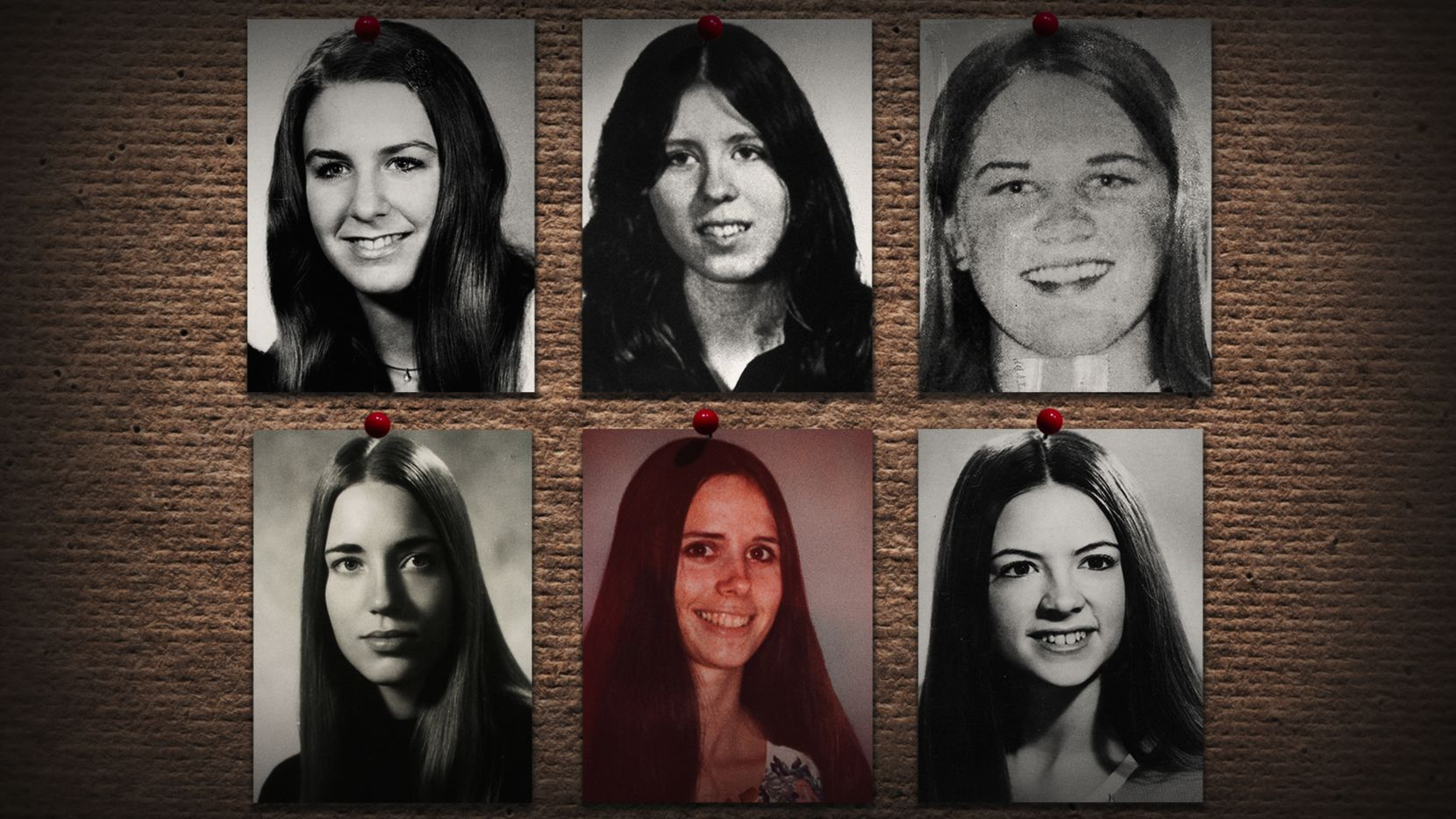 """A photo of some of women Ted Bundy killed is included in Conversations with a Killer: The Ted Bundy Tapes.  Bundy's victims """"were all very young. I guess the oldest might have been 28. Most were between 18 and 22,"""" Hugh Aynesworth says."""