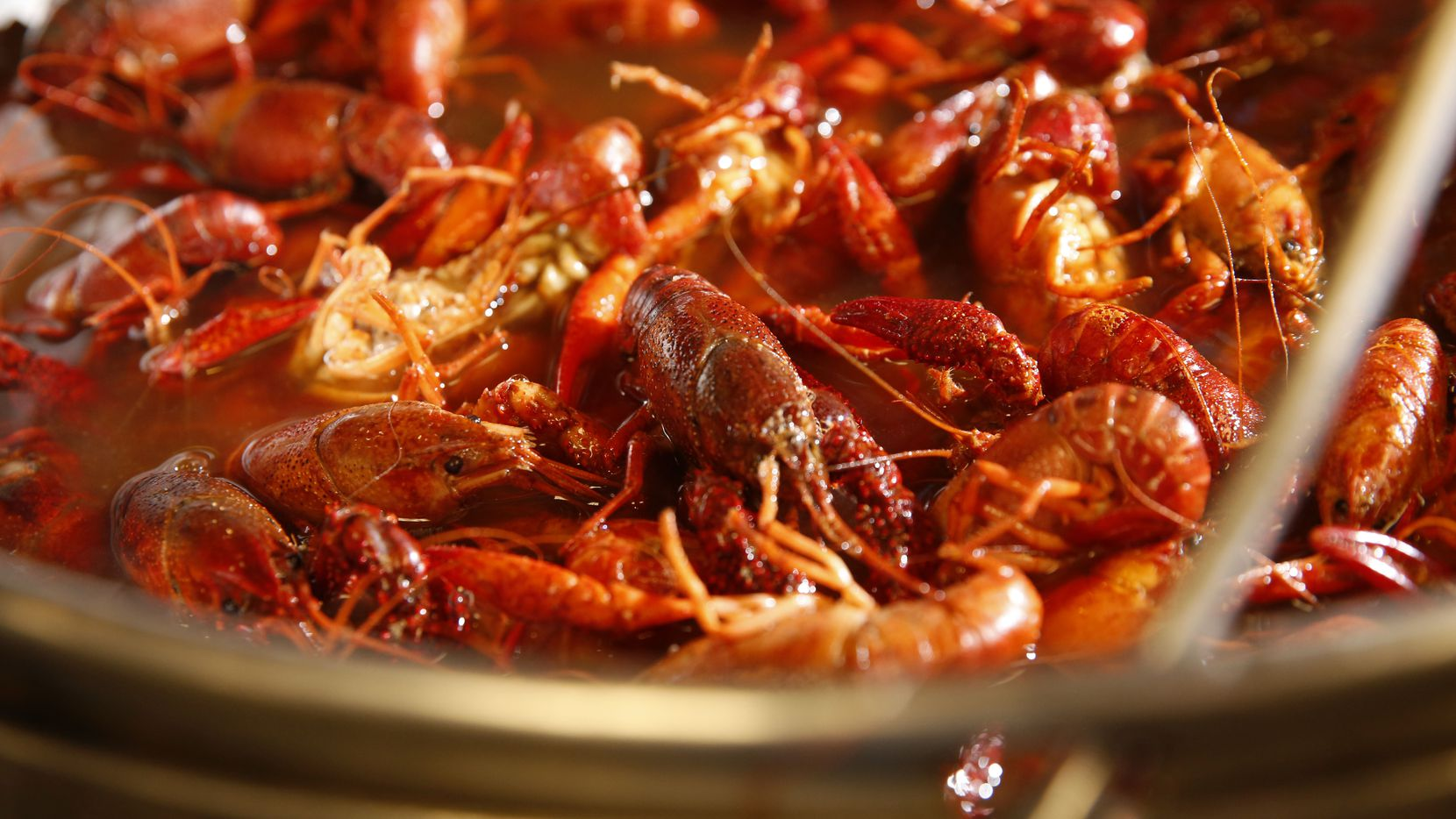 Crawfish are boiled at The Boiling Crab in Dallas