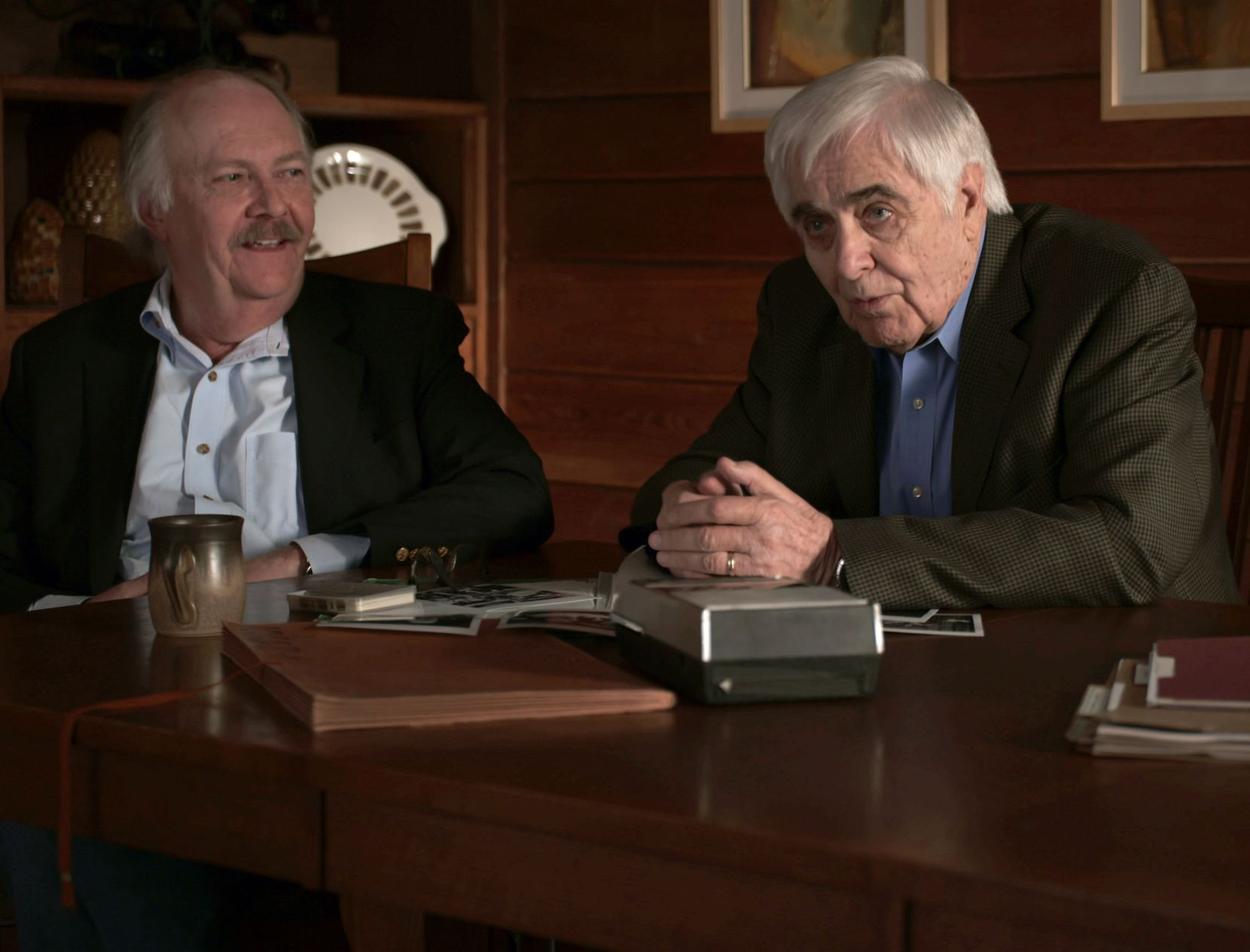 Stephen Michaud (left) and Hugh Aynesworth in a photo from Conversations with a Killer: The Ted Bundy Tapes