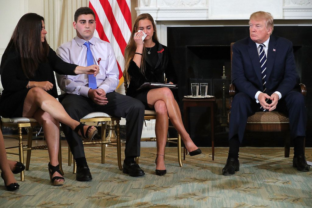 U.S. President Donald Trump hosts a listening session with Marjory Stoneman Douglas High School shooting survivors at the White House on Feb. 21.