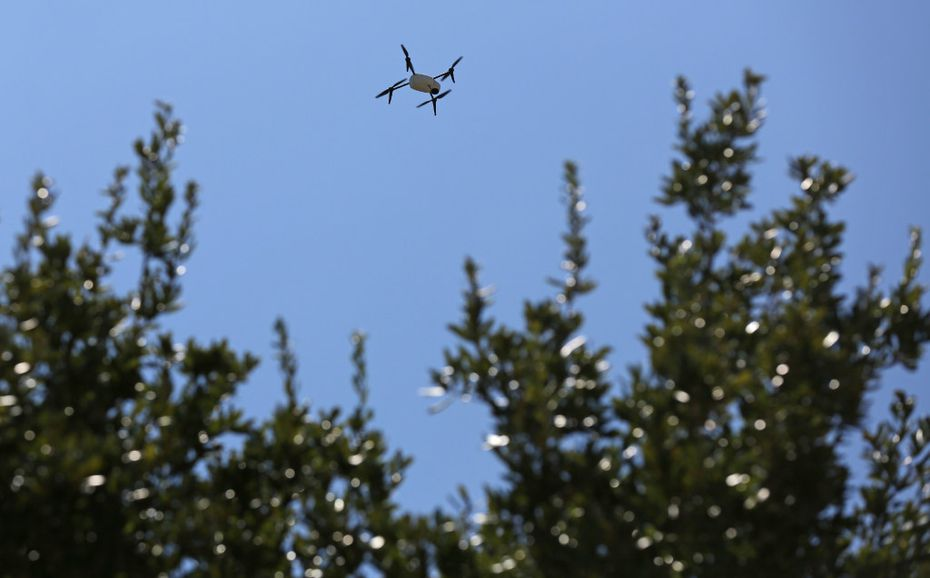 Farmers Insurance uses a drone to make a record of the damage done by Hurricane Harvey in Missouri City, Texas, a suburb of Houston. (Louis DeLuca/The Dallas Morning News)