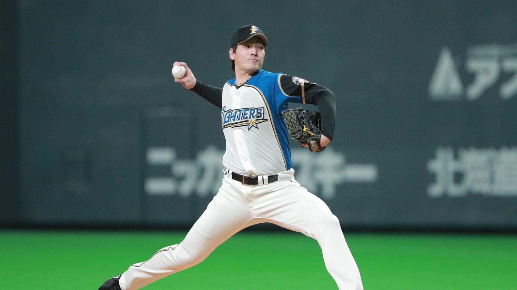 Kohei Arihara en un juego de los Hokkaido Nippon Ham Fighters en la Liga Japonesa de Beisbol.