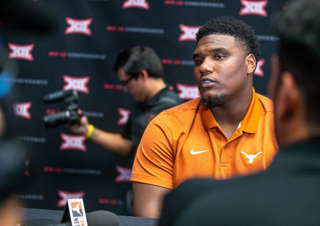Texas defensive end Malcolm Roach speaks with reporters during the breakout session of Big 12 media days at AT&T Stadium in Arlington on Tuesday, July 16, 2019. (Lynda M. Gonzalez/The Dallas Morning News)