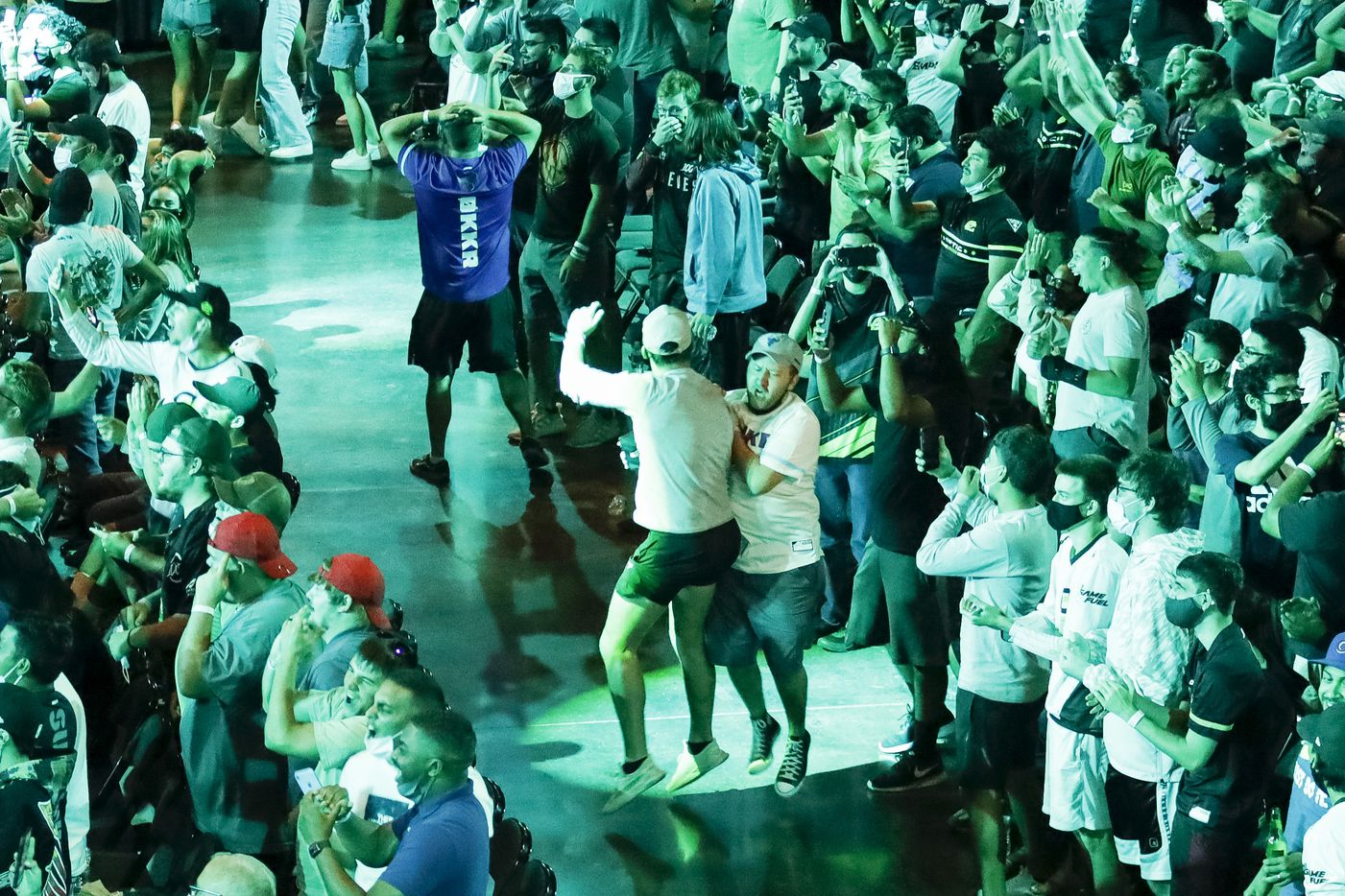 Fans react after the Seattle Surge defeated the Atlanta FaZe during the Call of Duty League Major V tournament at Esports Stadium Arlington on Saturday, July 31, 2021, in Arlington. (Elias Valverde II/The Dallas Morning News)