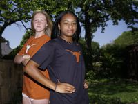 "Alexis ""Lexi"" Missimo (left) and Trinity Byars at Missimo's home in Southlake on Monday, May 4, 2020."