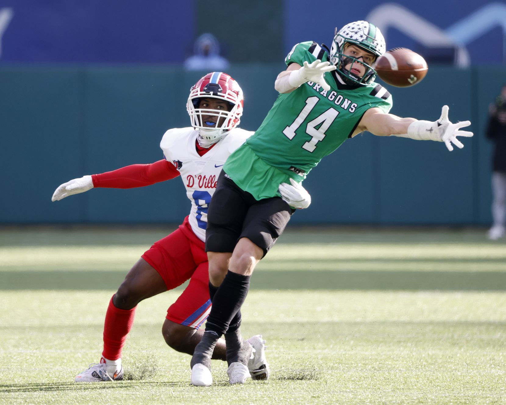 Duncanille's Jadarius Thursby (8) defends as Southlake Carroll's Brady Boyd (14) fails to catch a pass during the Class 6A Division I state high school football semifinal in Arlington, Texas on Jan. 9, 2020. (Michael Ainsworth)