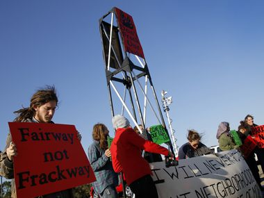 Protesters demonstrated during the city of Dallas' official Luna Vista Golf Course re-opening on October 26, 2012. This is near the land where Trinity East Energy had once hoped to drill for natural gas.