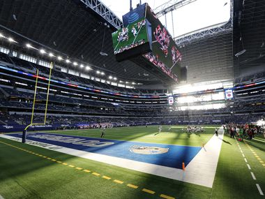 The sun shines through the open end zone doors and roof as the Dallas Cowboys faced the Washington Football Team at AT&T Stadium in Arlington, Thursday, November 26, 2020.