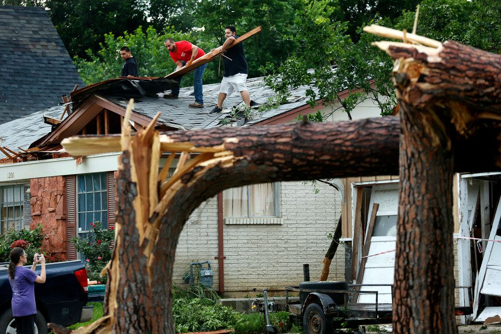 Volunteers help residents along Andrews St. clear roof debris in North Arlington after large trees were toppled, Sunday, June 16, 2019. after high winds from a thunderstorm rolled through the Metroplex. A pair of tall pine trees were snapped about 8 feet off the ground and landed on a home. (Tom Fox/The Dallas Morning News)