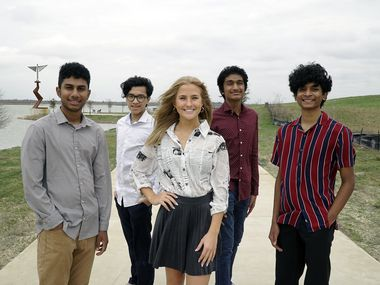 """Local students Vignesh Sanagala (from left), Lin Hlaing, Kelly Wheeler, Sahan Yerram and Jashith """"Jay"""" Vanam set up the Hygiene For All nonprofit, which has raised more than $1,000 over the last year. Vignesh attends the Texas Academy of Math and Science in Denton, and the others are students at Coppell High School."""
