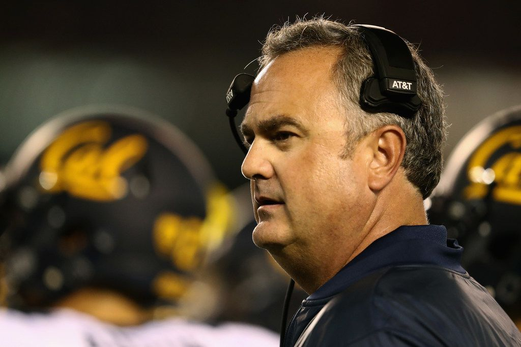 SAN DIEGO, CA - SEPTEMBER 10:  Head coach Sonny Dykes of the California Golden Bears looks on during the third quarter of a game against the San Diego State Aztecs  at Qualcomm Stadium on September 10, 2016 in San Diego, California.  (Photo by Sean M. Haffey/Getty Images) ORG XMIT: 659658249