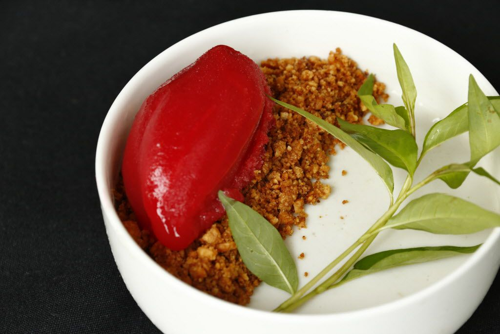 Coconut and lemon grass panna cotta with raspberry sorbet