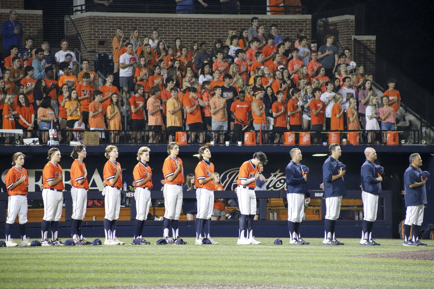 Frisco Wakeland stands for the national anthem before game two of the UIL baseball 5A Region II final series against Hallsville at Horner Ballpark in Dallas on Friday, June 4, 2021. (Elias Valverde II / Special Contributor)